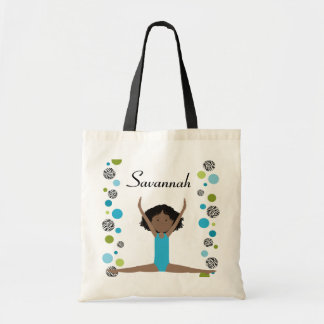 Little Gymnast in Aqua and Green Tote Bag