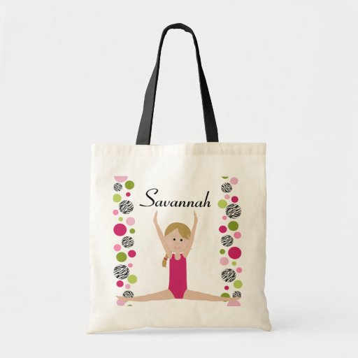 Little Gymnast in Pink and Green Bags