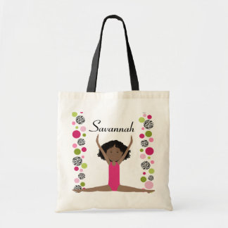 Little Gymnast in Pink and Green Canvas Bag