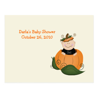 Little Halloween Pumpkin Baby Shower Advice Cards