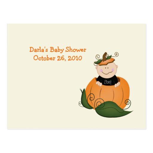 Little Halloween Pumpkin Baby Shower Advice Cards
