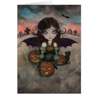 Little Halloween Vampire Fairy and Jack-O-Lanterns Greeting Cards