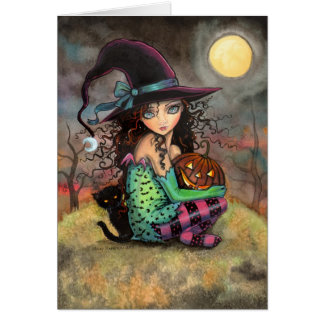 Little Halloween Witch and Black Cat Card