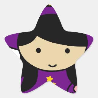 Little Halloween Witch Star Sticker