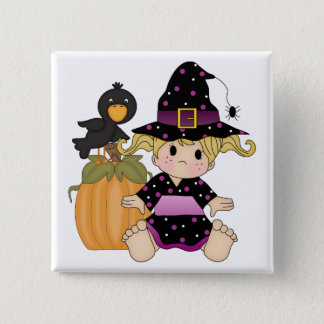 Little Halloween witch with black purple dress Button