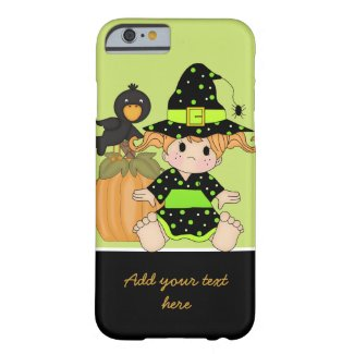 Little Halloween witch with green black dress iPhone 6 Case