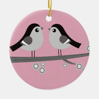 Little hand painted Birds black on pink Ceramic Ornament
