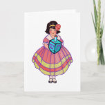 """Little Hanukkah Girl with Big Dreidel Holiday Card<br><div class=""""desc"""">I have two grown daughters who used to look just like this little girl. She's holding a huge round dreidel. My daughters like this card.</div>"""