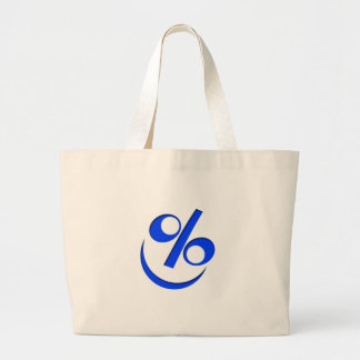 Little Happy blue percent Large Tote Bag