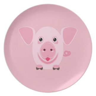 Little happy cute pink pig plate