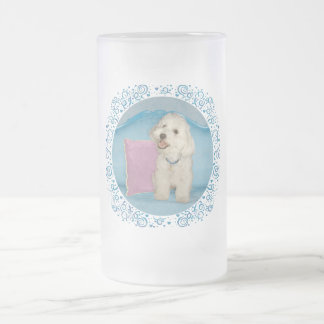 Little Havanese on Turquoise Sofa 16 Oz Frosted Glass Beer Mug