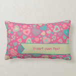 Little heart pattern Popsicle Love with banner Pillow