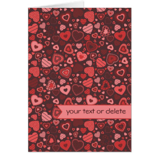 Little heart pattern Valentine Red with banner Card