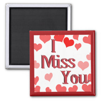 Little Hearts -  I Miss You 2 Inch Square Magnet