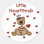 Little Heartthrob Boy Bear Round Sticker