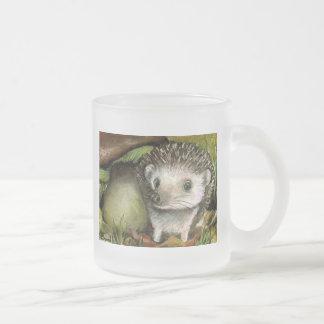 Little hedgehog 10 oz frosted glass coffee mug