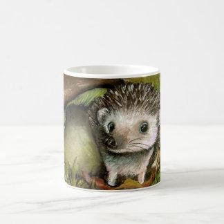 Little hedgehog guarding his mushroom coffee mug