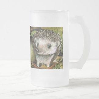 Little hedgehog guarding his mushroom frosted glass beer mug