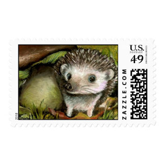 Little hedgehog guarding his mushroom postage stamp