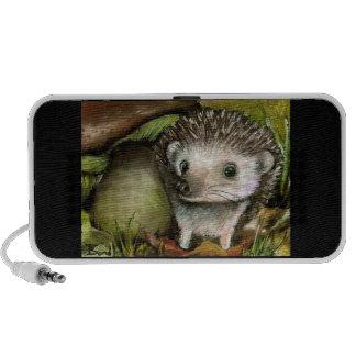 little hedgehog guarding his mushroom speaker system