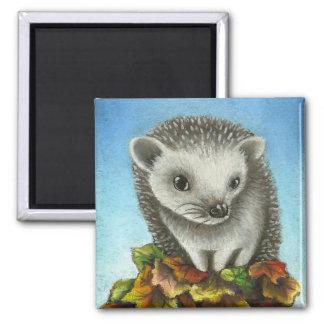 Little hedgehog on a big pile of leaves 2 inch square magnet