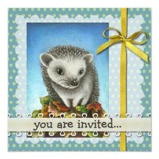 Little hedgehog on a big pile of leaves card