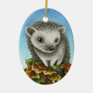 Little hedgehog on a big pile of leaves ceramic ornament