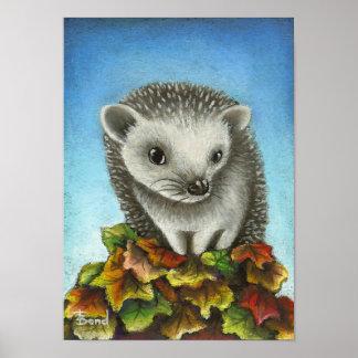 Little hedgehog on a big pile of leaves print