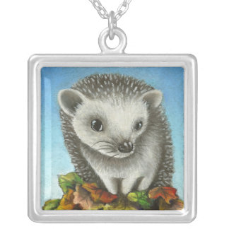 Little hedgehog on a big pile of leaves square pendant necklace