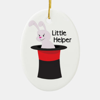 Little Helper Double-Sided Oval Ceramic Christmas Ornament