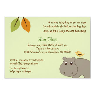 Little Hippo Custom Baby Shower Invitations