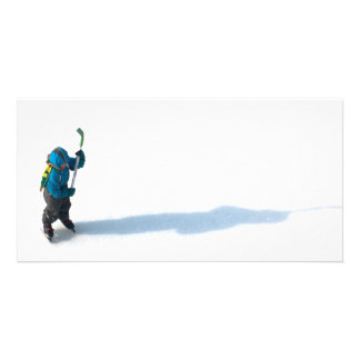 Little hockey-player photo card