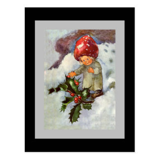 Little Holly Girl in Snow Postcard
