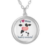 Little Holstein Cow Loves You Very Much! Silver Plated Necklace