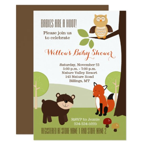 Little Hoot Woodland Animals Neutral Baby Shower Card