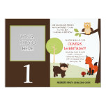 Little Hoot Woodland Forest Photo Birthday 5x7 Paper Invitation Card