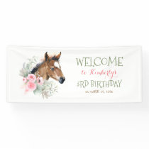 Little Horse Cute Pink Birthday Party Banner