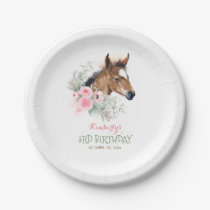 Little Horse Cute Pink Floral Birthday Paper Plate
