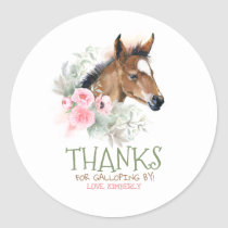 Little Horse Pink Birthday Classic Round Sticker