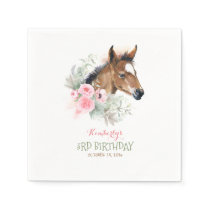Little Horse Pink Floral Elegant Girls Birthday Napkins