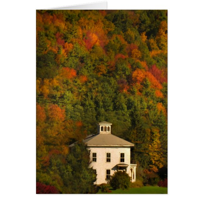 Little House and Cupola with Autumn Foliage Card