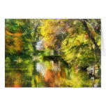 Little House by the Stream in Autumn Cards
