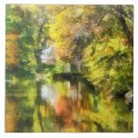 Little House by the Stream in Autumn Ceramic Tiles