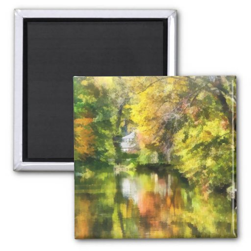 Little House by the Stream in Autumn Refrigerator Magnet