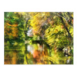 Little House by the Stream in Autumn Post Card