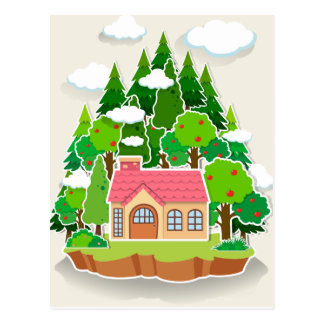 Little house in the forest postcard