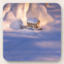 Little House in the Snow Cork Coaster