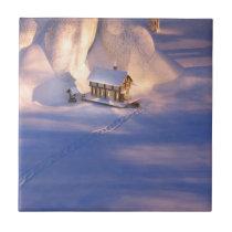 Little House in the Snow Decorative Tile / Trivet