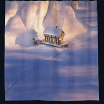 Little House in the Snow Shower Curtain