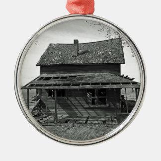 Little House  On Juniper Flats B/W Round Metal Christmas Ornament